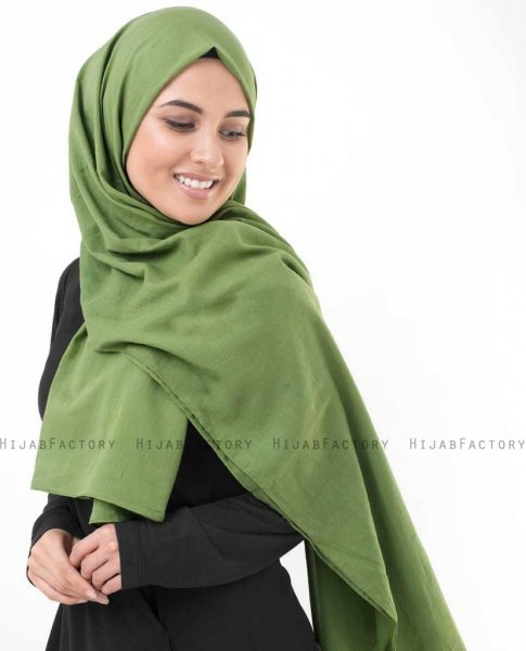 Forest Green Khaki Bomull Voile Hijab InEssence 5TA69b
