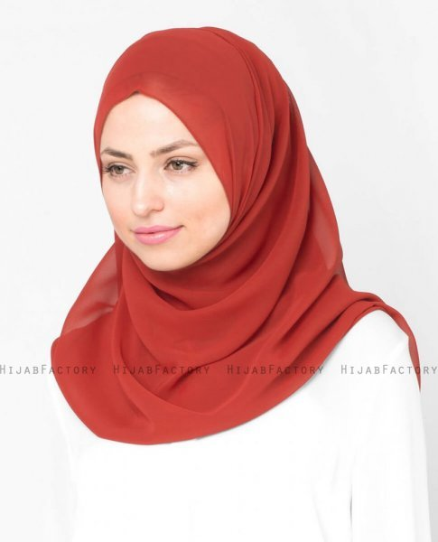 Red Clay Röd Georgette Hijab 5XA50a
